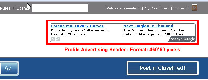 Profile Advertising Header : 468x60 pixels